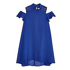 bluezoo - Girls' bright blue cold shoulder trapeze dress
