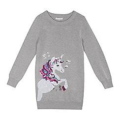 bluezoo - Girls' grey sequinned unicorn tunic
