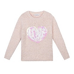 bluezoo - Girls' pink fluffy sequinned 'Love' jumper