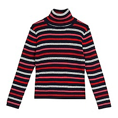 bluezoo - Girls' multi-coloured striped roll neck jumper