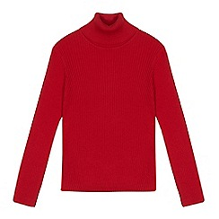 bluezoo - Girls' red ribbed roll neck jumper