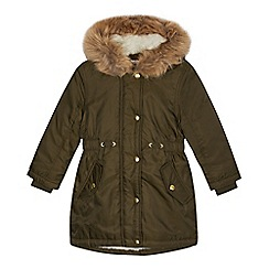 bluezoo - Girls' khaki faux fur parka coat