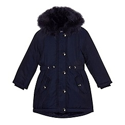bluezoo - Girls' navy faux fur trim parka coat