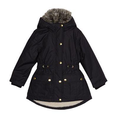bluezoo Girls' black borg lined parka coat   Debenhams