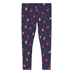 bluezoo - Girls' navy unicorn print leggings