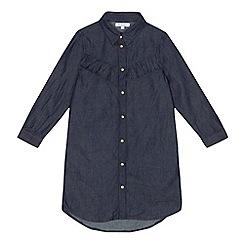 bluezoo - Girls' dark blue frilled denim shirt dress
