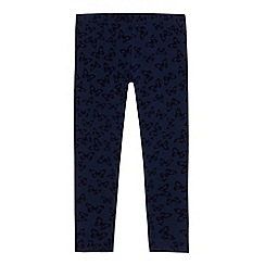 bluezoo - Girls' navy flocked butterfly leggings