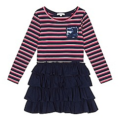 bluezoo - Girls' navy and pink striped sequinned pocket rara dress