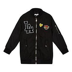 bluezoo - Girls' black badge applique bomber jacket