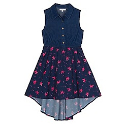 bluezoo - Girls' navy unicorn print mock dress