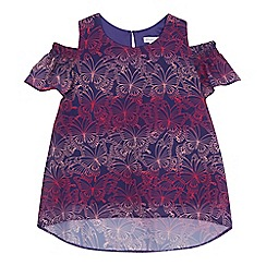 bluezoo - Girls' multi-coloured butterfly print cold shoulder top