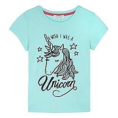 bluezoo - Girls' blue 'I Wish I Was A Unicorn' print t-shirt