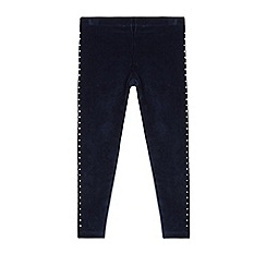 bluezoo - Girls' navy velour studded sides leggings