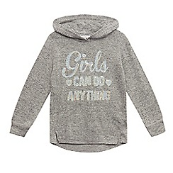 bluezoo - Girls' grey 'Girls Can Do Anything' applique hoodie