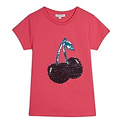 bluezoo - Girls' pink sequin cherry t-shirt