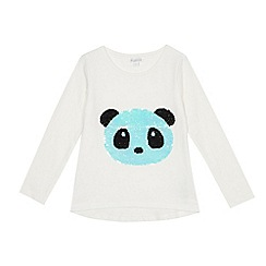 bluezoo - Girls' white reversible sequinned panda top