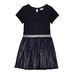 bluezoo - Girls' navy ruffle trim dress