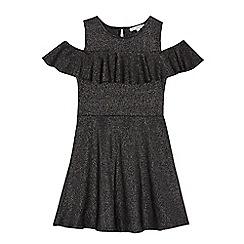 bluezoo - Girls' grey metallic frilled dress