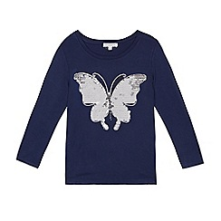 bluezoo - Girls' navy sequin butterfly top