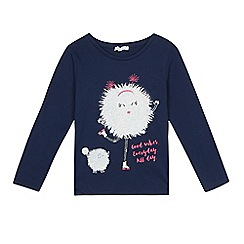 bluezoo - Girls' navy glitter ball top