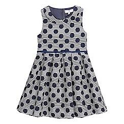 J by Jasper Conran - Girls' navy spotted belted dress