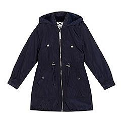 J by Jasper Conran - Girls' navy longline parka coat