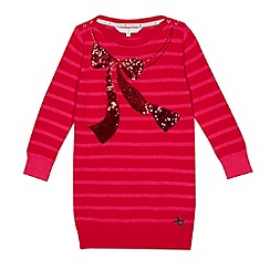 J by Jasper Conran - Girls' red striped sequinned bow tunic