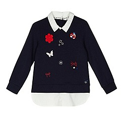 J by Jasper Conran - Girls' navy applique mock sweater
