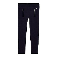 J by Jasper Conran - Girls' navy textured panel zip leggings
