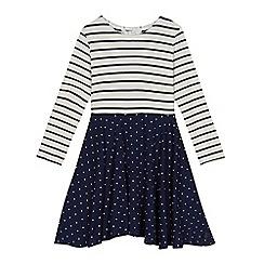 J by Jasper Conran - Girls' navy striped and spotted print skater dress