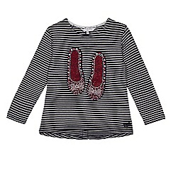 J by Jasper Conran - Girls' navy striped diamante shoes applique top