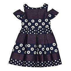 J by Jasper Conran - Girls' navy flower spotted print cold shoulder dress
