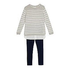 J by Jasper Conran - Girls' grey and navy striped jumper and leggings set