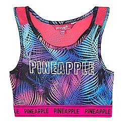 Pineapple - Girls' multi-coloured palm leaf print sports crop top