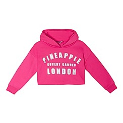 Pineapple - Girls' pink cropped hoodie