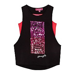 Pineapple - Girls' black sequinned top and coral cami set