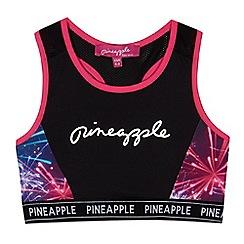 Pineapple - Girls' black fireworks print sports bra