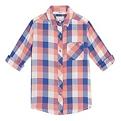 Mantaray - Girls' pink check long sleeve shirt