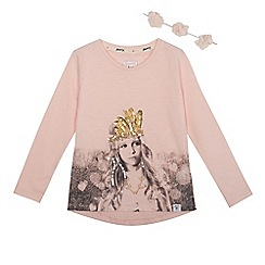 Mantaray - Girls' pink printed t-shirt
