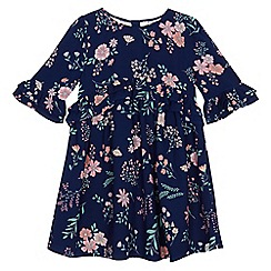 Mantaray - Girls' navy floral print ruffle dress
