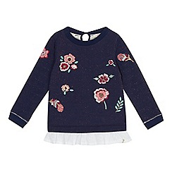Mantaray - Girls' navy embroidered flower mock sweater