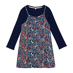 Mantaray - Girls' navy top and floral print dress set