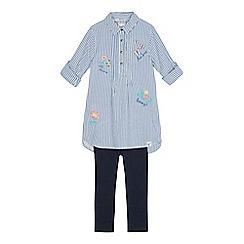 Mantaray - Girls' blue striped shirt and leggings set