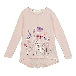 Mantaray - Girls' pink floral print sequinned top