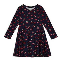 bluezoo - Girls' navy cherry print skater dress