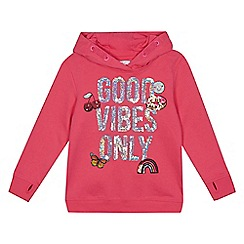 bluezoo - Girls' pink 'Good Vibes Only' sequin applique hoody