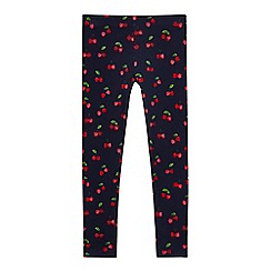 bluezoo - Girls' navy cherry print leggings