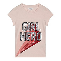 bluezoo - Girls' pink sequin 'Girl Hero' t-shirt