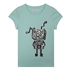 bluezoo - Girls' aqua sequin robot t-shirt