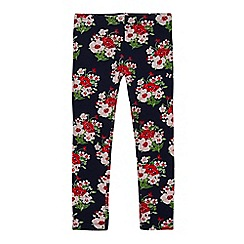 bluezoo - Girls' navy floral print leggings